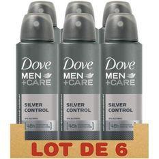 DOVE Lot de 6 Déodorants Homme Protection 48h Silver Control Sans Alcool - 150ml