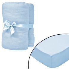 Drap-housse pour berceaux 4 pcs Jersey de coton 40x80 cm Bleu