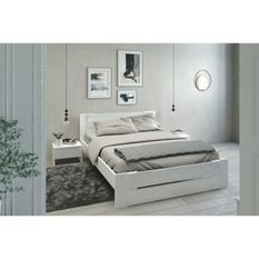 EDEN Ensemble chambre lit 140x190 cm + 2 chevets blanc brillant - L 146 x P 75 x H 195 cm