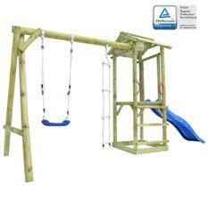 Ensemble aire de jeu avec échelle toboggan balançoire Bois