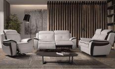 Ensemble canapé de relaxation 1 et 3 places électrique Cuir Banc et Gris Corsa