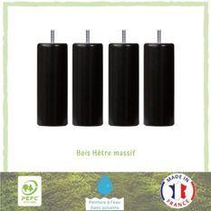 Ensemble de 4 pieds de lit cylindrique - Vernis noir - D5,4 cm H 15 cm