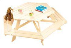 Ensemble de table et chaises enfant épicéa massif clair Nicki 6-Eck