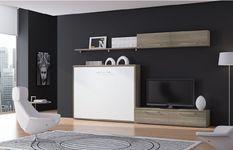 Ensemble lit escamotable 80x190 cm et meubles de salon Optima