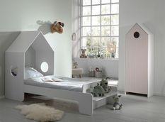 Ensemble lit maison blanc avec banc 90x200 cm et armoire rose bois laqué Camila