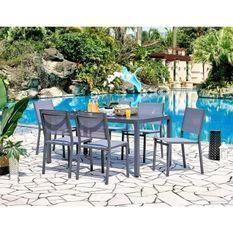 Ensemble repas de jardin 6 personnes Aluminium- Table avec plateau en verre 160x90cm + 6 chaises et assise textilene - Gris