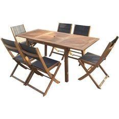 Ensemble repas de jardin 6 personnes - Table extensible 120-180 x 80 cm + 6 chaises assises textilene - Bois Eucalyptus FSC