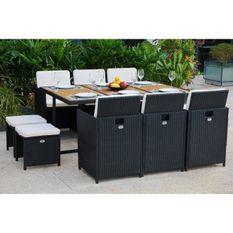 Ensemble repas de jardin encastrable 6 personnes- table 167x110cm + 6 fauteuils résine tressée + 4 poufs -Bois Acacia FSC- MAGOON