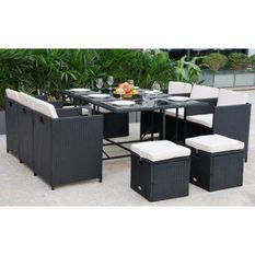 Ensemble repas de jardin encastrable 6 personnes - Table + fauteuils + poufs - Noir