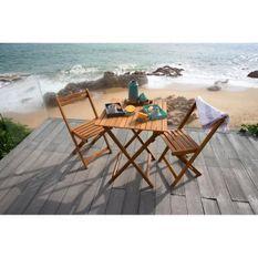 Ensemble repas de jardin ou de balcon 2 personnes - table 60x60cm et 2 chaises pliables - Bois acacia FSC