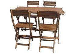 Ensemble repas de jardin pliable 4 places - table 120x70cm et 4 chaises - En bois d'eucalyptus