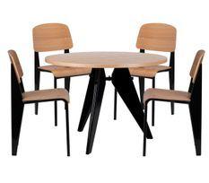 Ensemble table et 4 chaises industriel bois de frêne et acier noir Kiten
