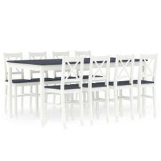 Ensemble table et 8 chaises pin massif blanc et gris Kampia