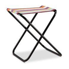 EREDU Tabouret Pliant camping Maxi 521/L - Polycoton - Noir et Multicolore