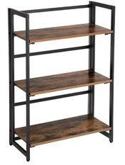 Étagère 3 niveaux industriel bois vintage et acier noir Kaza L 60 x P 30 x H 93 cm