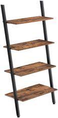 Étagère 4 niveaux industriel bois vintage et acier noir Kaza L 64 x P 35 x H 150 cm