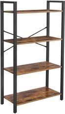 Étagère 4 niveaux industriel bois vintage et acier noir Kaza L 66 x P 30 x H 120 cm