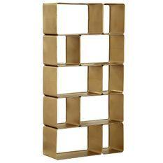 Étagère design 10 compartiments nickel doré Staris
