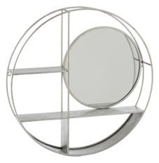 Étagère murale ronde 2 planches miroir et métal gris Diza