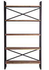 Etagères industrielle bois de Pin massif et acier noir Borni 100 cm