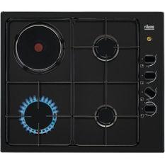 FAURE FGM64300B - Table de cuisson mixte gaz / électrique - 4 zones - L55 x P47 x H3 cm - Noir