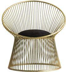 Fauteuil art déco acier doré et assise tissu noir mat Zug - Lot de 2