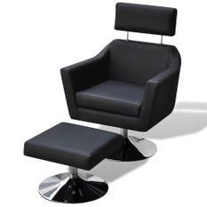 Fauteuil avec repose pied moderne simili cuir noir et pieds acier chromé Kisper