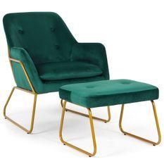 Fauteuil avec repose-pieds velours vert et métal doré Chael