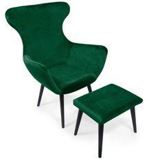 Fauteuil avec repose-pieds velours vert et pieds noir Kantus