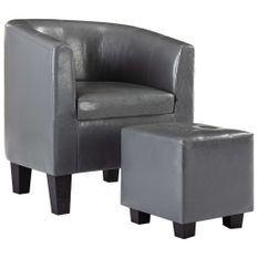 Fauteuil club avec repose pied simili cuir gris Karona