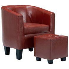 Fauteuil club avec repose pied simili cuir rouge bordeaux Karona