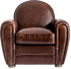 Fauteuil club cuir marron et pieds pin massif clair Trya