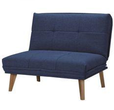 Fauteuil convertible tissu bleu et pieds bois clair Ruth