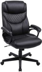 Fauteuil de bureau avec appui-tête et dossier matelassé simili cuir noir Offica