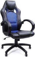 Fauteuil de bureau avec dossier inclinable et pivotant 360 degrés Simili cuir noir et bleu Kazing