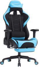 Fauteuil de bureau gaming avec repose-pieds bleu et noir