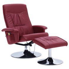 Fauteuil de massage inclinable électrique avec ottoman simili cuir bordeaux Bompar