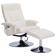 Fauteuil de massage inclinable électrique avec ottoman simili cuir crème Bompar