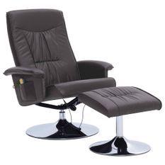 Fauteuil de massage inclinable électrique avec ottoman simili cuir gris Bompar