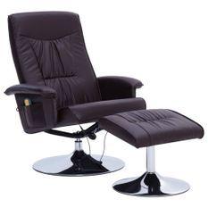 Fauteuil de massage inclinable électrique avec ottoman simili cuir marron Bompar
