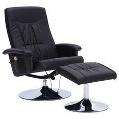 Fauteuil de massage inclinable électrique avec ottoman simili cuir noir Bompar