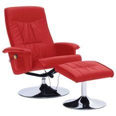 Fauteuil de massage inclinable électrique avec ottoman simili cuir rouge Bompar
