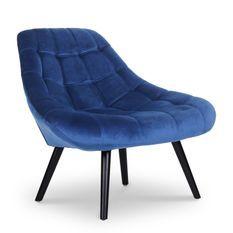 Fauteuil large velours bleu et pieds bois noir Méli - Lot de 2