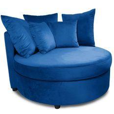 Fauteuil large velours bleu Musto 115 cm