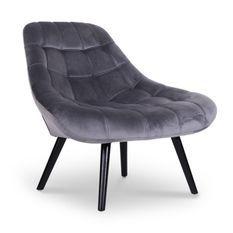 Fauteuil large velours gris et pieds bois noir Méli - Lot de 2