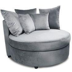 Fauteuil large velours gris Musto 115 cm