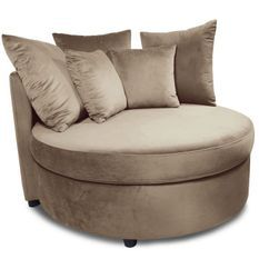 Fauteuil large velours taupe Musto 115 cm