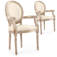 Fauteuil médaillon bois vieilli et tissu beige Louis XVI - Lot de 2