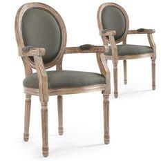 Fauteuil médaillon bois vieilli et tissu gris Louis XVI - Lot de 2