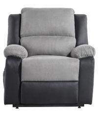 Fauteuil relaxation électrique simili cuir noir et microfibre gris Confort